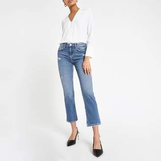 River Island Womens Blue cropped flare jeans