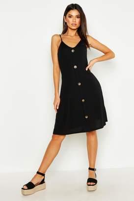 boohoo Ribbed Button Down Mini Swing Dress