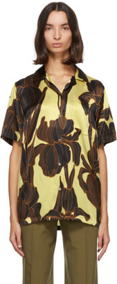 Dries Van Noten Yellow Silk Floral Short Sleeve Shirt
