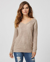 Le Château Ribbed Knit V-Neck Sweater