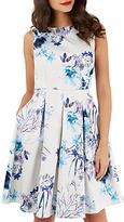 Closet Pleated Skater Dress, White/Blue