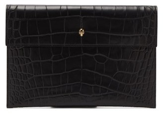 Alexander McQueen Skull Crocodile-effect Leather Clutch Bag - Black