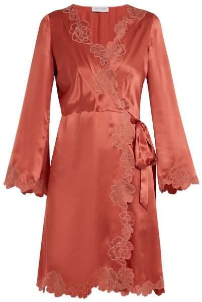 Carine Gilson Lace-trimmed silk-satin robe