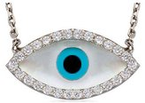 """Charm & Chain Evil Eye Sterling Silver Clear CZ Pave Charm Chain Necklace 16"""""""