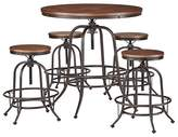 Inspire Q Mason Mixed Media Adjustable Counter Height 5-Piece Round Dining Set