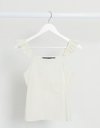 Vero Moda cotton cami top with broderie frill sleeves in cream