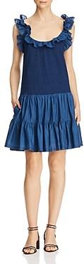 Rebecca Taylor La Vie Ruffled Mixed-Media Dress
