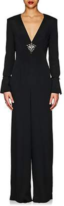 Alberta Ferretti Women's Embellished Crepe V-Neck Jumpsuit - Black