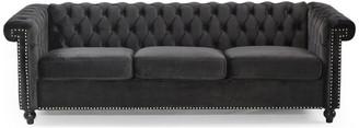 Gdfstudio Spencer Tufted Chesterfield Velvet 3 Seater Sofa, Black/Dark Brown