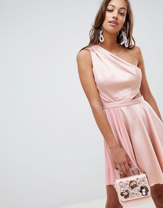 Asos Design DESIGN satin half pleated cut out one shoulder mini dress-Pink