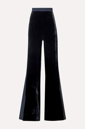 Cushnie Velvet And Crepe De Chine Flared Pants - Midnight blue