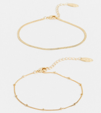 Orelia gold plated bracelet multipack in satellite and flat curb chain