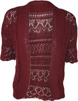 FashionMark Women's Plus Size Crochet Knitted Short Sleeve Cardigan (Coral)
