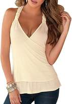 KOINECO Women's Sexy Open Back Wrap Front Lace Halter Top Shirts
