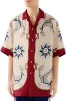 Gucci Men's Nautical-Print Bowling Shirt