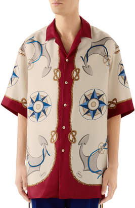 Gucci Men's Nautical-Print Bowling Shirt