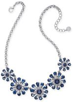 Charter Club Gold-Tone Clear and Red Crystal Flower Statement Necklace, Created for Macy's
