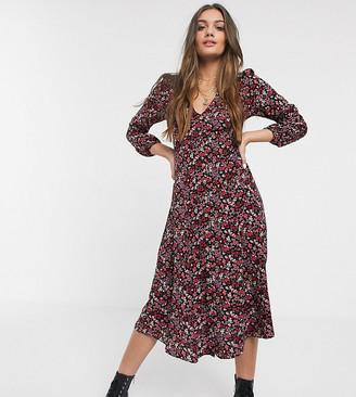 New Look Petite long sleeved midi tea dress in black floral