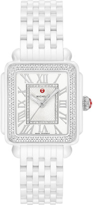 Michele 16 Deco Madison Ceramic Diamond Watch