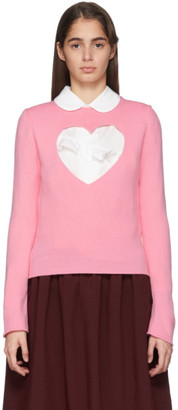 COMME DES GARÇONS GIRL Pink Cut-Out Heart Sweater