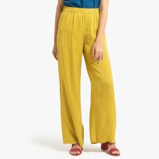 Samsoe And Samsoe Printed Wide Leg Trousers with Elasticated Waist, Length 31.5