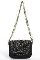 Juicy Couture Black Leather Gold Tone Mini Stone Shoulder Handbag $178 New