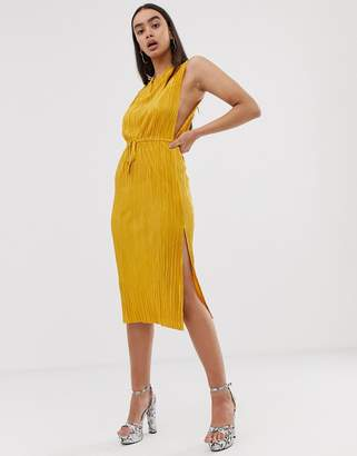 Asos Design DESIGN midi plisse dress with drawstring waist-Yellow