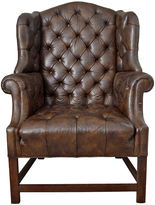 One Kings Lane Vintage Schoonbeck Cigar Leather Wingback Chair
