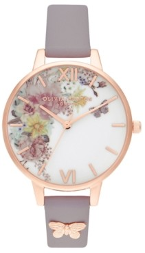 Olivia Burton Women's Enchanted Garden Gray Lilac Leather Strap Watch 34mm