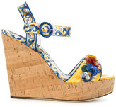Dolce & Gabbana Majolica print wedges - women - Leather/Patent Leather/Brass - 36