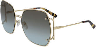 Salvatore Ferragamo Square Gancio Metal Sunglasses