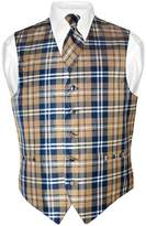 Vesuvio Napoli Men's Plaid Design Dress Vest & NeckTie Neck Tie Set Med