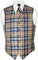 Vesuvio Napoli Men's Plaid Design Dress Vest & NeckTie Neck Tie Set XL