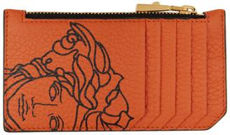 Versace Orange Pop Medusa Long Zip Card Holder
