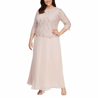 Alex Evenings Women's Plus Size Long Tea-Length Lace Mock Dress