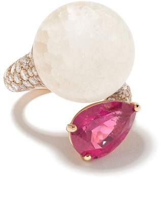 de Grisogono 18kt Rose Gold, Quartz, Rhodolite And Diamond Curved Ring