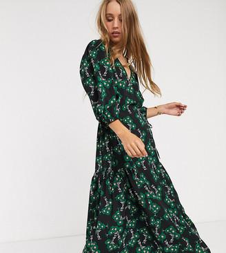 Topshop Tall twist front midi dress in green floral