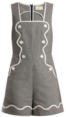 Sara Battaglia Houndstooth Cotton-stretch Playsuit - Black White