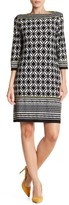 Sandra Darren Abstract Print Long Sleeve Shift Dress