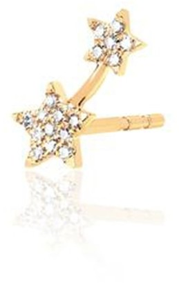 Ef Collection Left Single Diamond Double Star Stud Earring in Yellow Gold