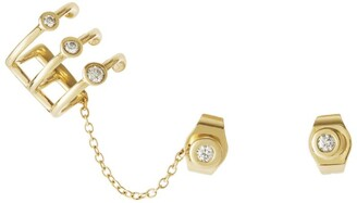 H.Stern Yellow Gold and Diamond Silk by Ear Cuff Stud Earrings