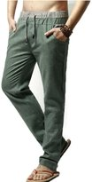 Elonglin Mens Casual Linen Pants Comfortable Trousers Elastic Waist Drawstring