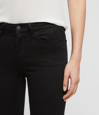 AllSaints Grace Skinny Mid-Rise Jeans, Jet Black