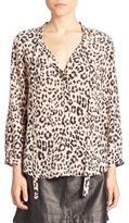 Joie Purine B Leopard Printed Tie Blouse