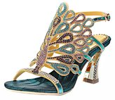 Honeystore Women's Rhinestone Peacock Handmade Wedding Sandals