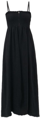 Jil Sander Zipped Smocked Linen Midi Dress - Black