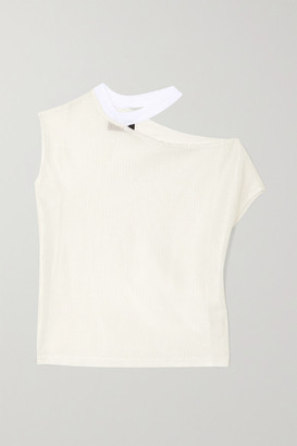 RtA Axel Cutout Ribbed-knit Top - White