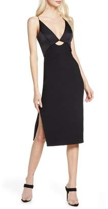 Finders Keepers Paradise Cutout Detail Satin & Crepe Sheath Dress