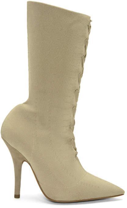 Yeezy Tan Knit Sock Boots