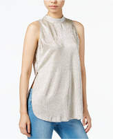 Bar III Metallic Mock-Neck Top, Created for Macy's